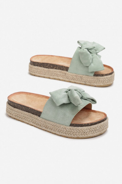 Do It Right Green Bow Platform Slippers