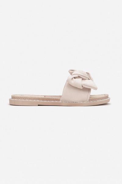 Perfect To Me Beige Bow Slippers