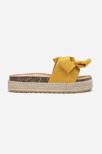 Do It Right Yellow Bow Platform Slippers
