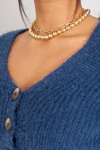 Gold Beaded Multi Layer Necklace