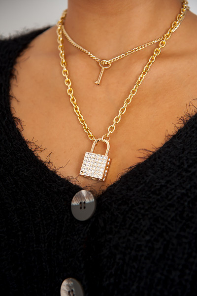 Need A Big Lock Chunky Necklace Gold