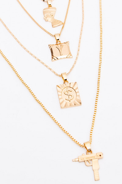 Multi Layer Medallion Necklace - Dollar Gold
