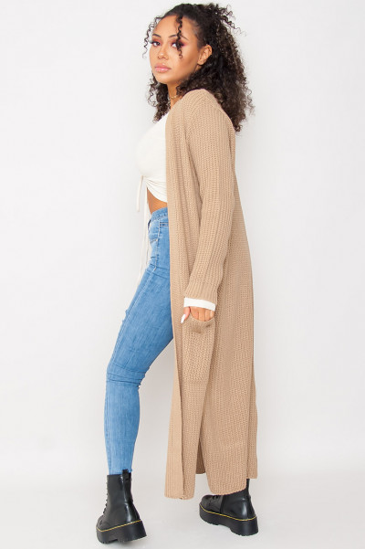 Long Knitted Cardigan Brown