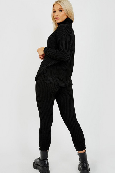High Neck Knitted Top & Trouser Black