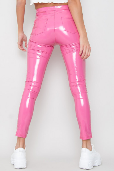Wet Look Neon Trousers - Babe Pink