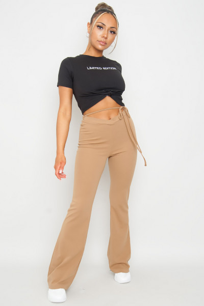 Front Knot Croptop Limited Edt Black
