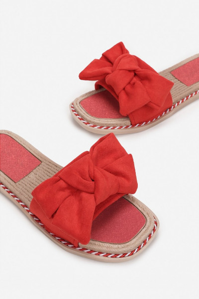 Perfect To Me Red Bow Slippers