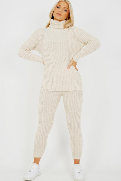 High Neck Knitted Top & Trouser Beige