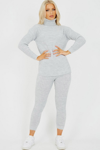 High Neck Knitted Top & Trouser Grey