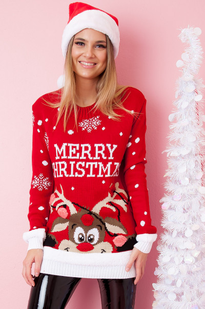 Christmas Sweater - Red-Nosed Rudolph Red