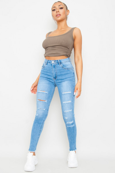 Heads Will Roll Ripped Jeans