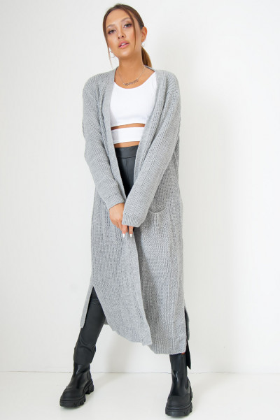Long Knitted Cardigan Grey